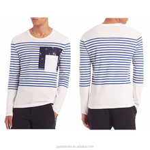 2016 stripe long sleeve t-shirts men tee with pocket
