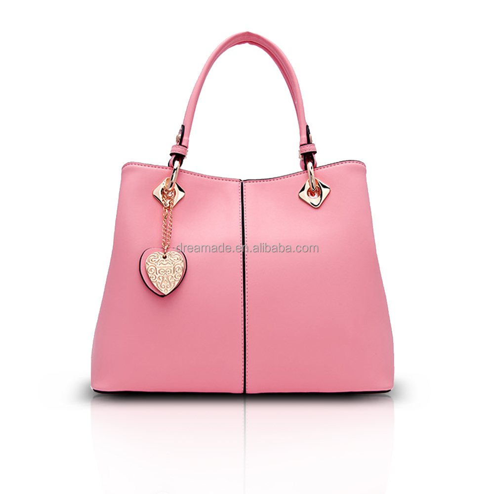 heart design pendant pink leather ladies taiwan handbags