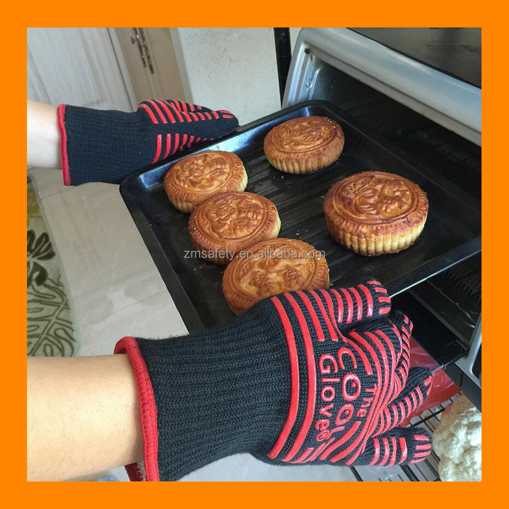 "500C Extreme Heat Resistant Gloves 14"" Long For Extra Forearm Protection Baking Gloves Ideal for Gift BBQ Grilling Cooking Glove"