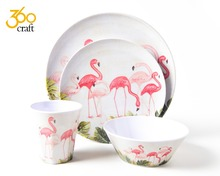 Christmas heavy duty swan japanese melamine dish ware plate for kids wholesale