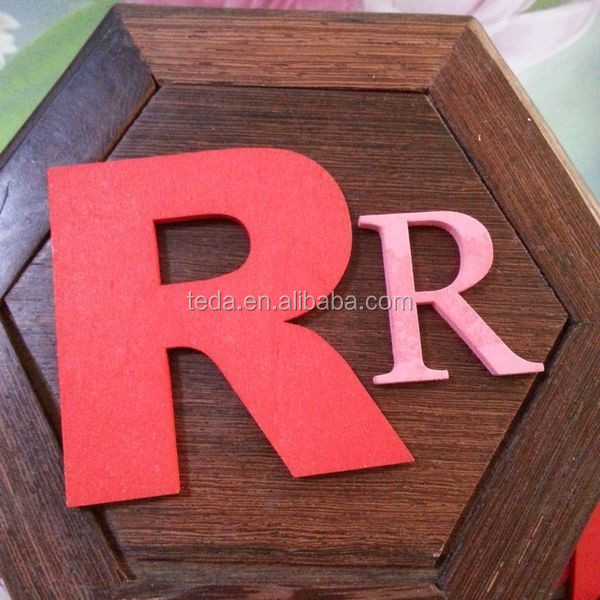 special 3d laster carving wood letter R decoration