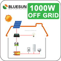 Bluesun green energy 1kva whole solar kits 1000w off-grid/stand alone home use solar power system
