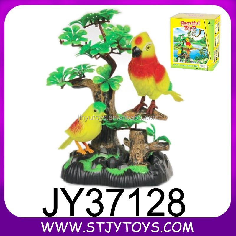 Battery operated plastic singing bird toy