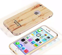 Aluminum frame + injection wooden grain PC back shell mobile phone case for Samsung Galaxy Note 2 2 in 1 protector phone cases