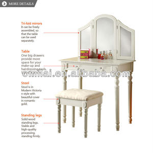 wood MDF dresing table with mirror on side of table with bench comfortable