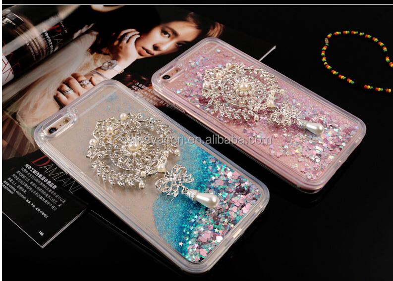 2016 Newest Luxury Dynamic Liquid Quicksand Bling Glitter Star Pearl Clear Diamond Phone Case For iPhone 6 for iPhone 6 plus