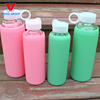 Portable glass water bottle with silicone sleeve