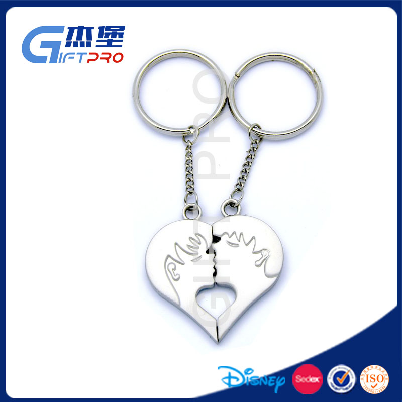 man&girl kissing heart shape personalized couple keychain