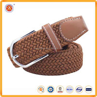 New Fashion Brown Color Metal buckle men woven stretch belt in Fabric Belt