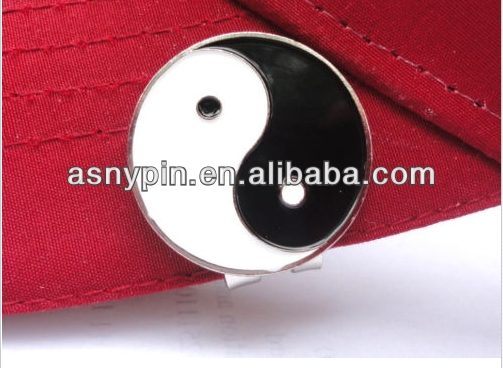 Yin Yang Metal Golf Ball Marker w Magnetic Hat Clip