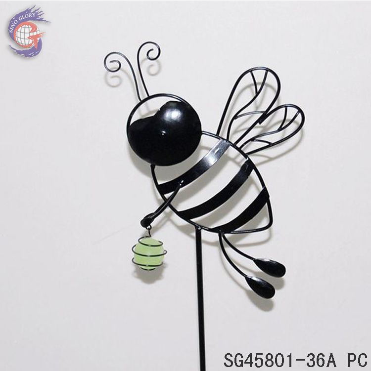 metal glow in the dark bees decorative floral sticks