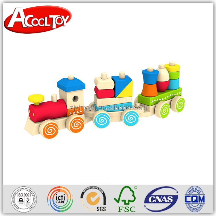 Educational wooden buliding block train car
