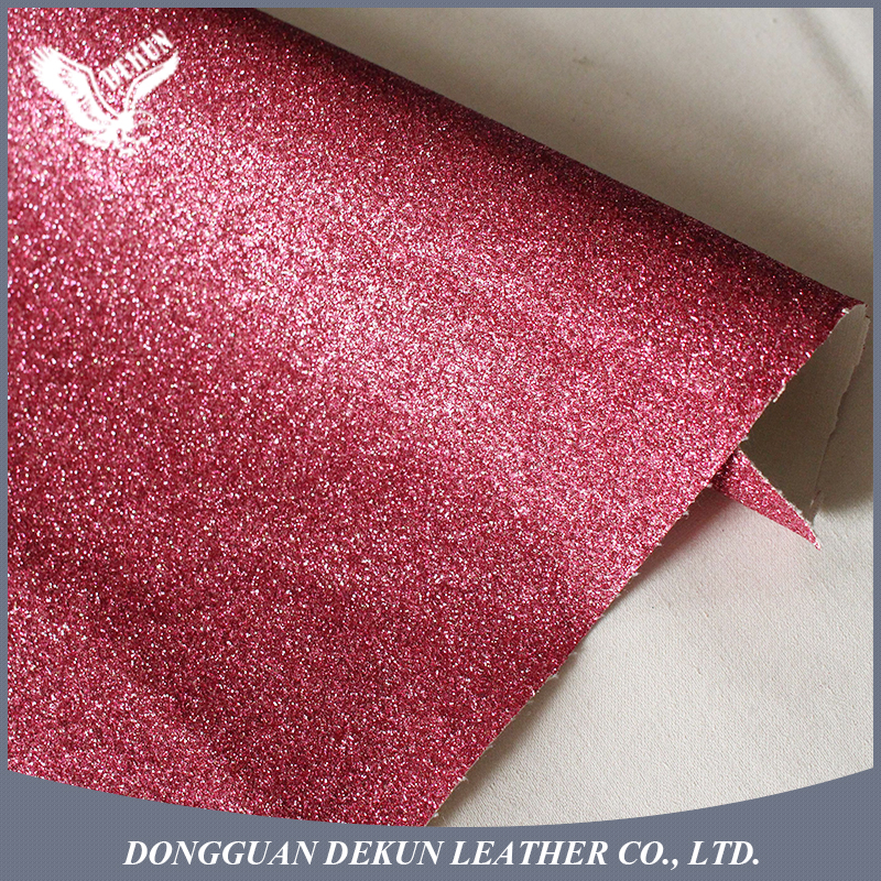 New products perforated synthetic glitter leather fabric