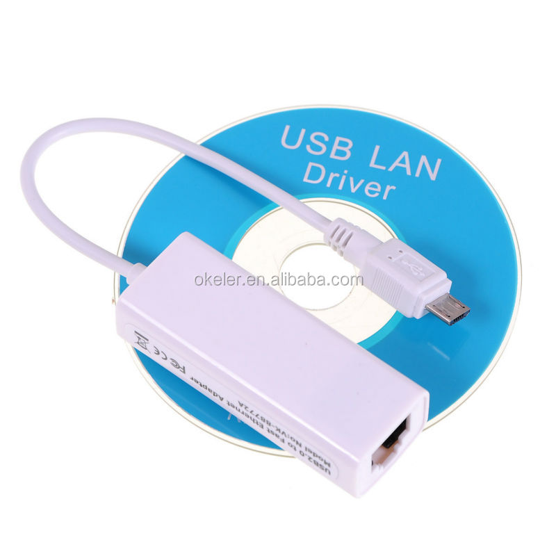 2017 Hot sales White Micro USB to Ethernet LAN Network RJ45 Card Adapter for Android OS Tablet