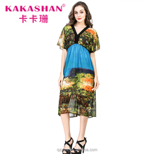African Floral Summer Dresses Long Chiffon Beach Party Wear Dress