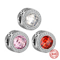 Red Pink White Zircon Birthstone 925 Sterling Silver Charm Beads For DIY European Bracelet Necklace 6pcs/lot DSP014