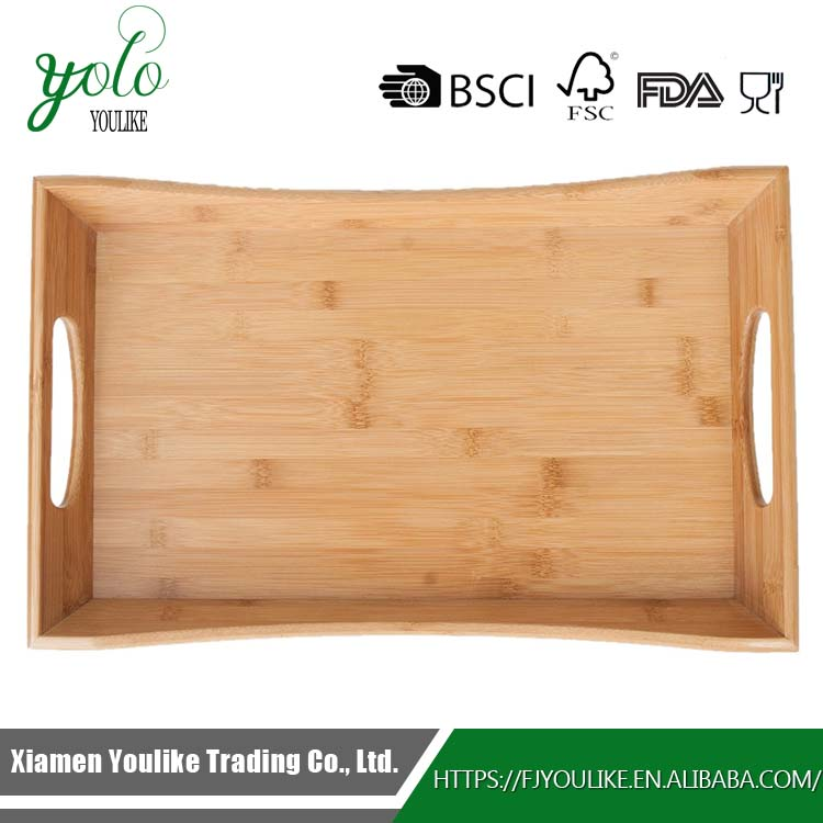 Rectangular natural wood Bamboo Serving food Tray with double handle for breakfast in bed