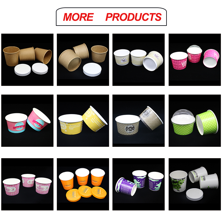 High Quality Biodegradable Design disposable Paper Ice Cream Cup with lid