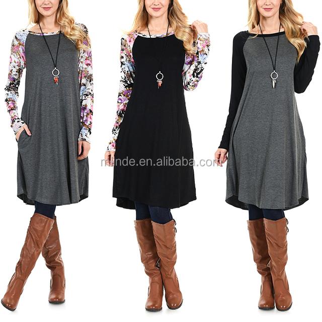 Women Ralgan Sleeve Plus Size Dresses Black & Lilac Floral Pocket Swing Vintage Dress for Girls Wholesale Custom Manufacturer