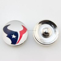 Wholesale 18mm Glass NFL Houston Texans Snap Button Jewelry