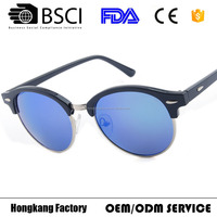 Round half rim frame plastic sunglasses with your custom logo recycled plastic Women sunglasses 2016 latest