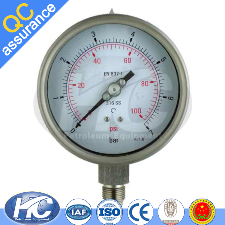 Pressure gauge with stainless steel 304 case / bourdon tube / air pressure gauge made in china