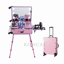 Professional Bluetooth Speaker Full Length Mirror Lighting Trolley Makeup Case