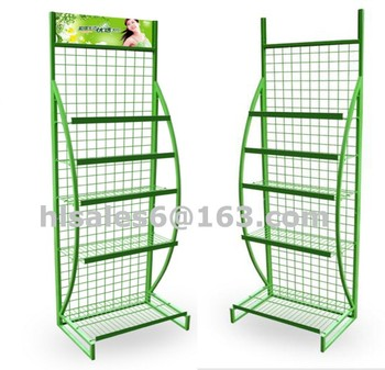 Floor standing grid mesh wire retail display units with baskets
