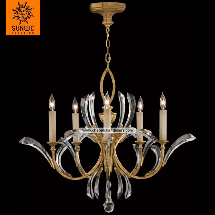 Fine Art Lamps 5 lights Metal Warm muted gold leaf chinese chandelier crystal alibaba