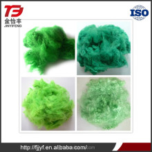 New product anti-pilling recycled polyester green color dyed solid stuffing material for clothes with low price