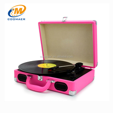 33 45 78 RPM Portable Suitcase Vinyl LP Turntable Modern Gramophone Record Player
