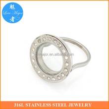 New stainless steel jewelry photo locket ring with rhinestones for memory
