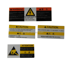 Warning OEM / PC Customized Warning label / PVC label sticker