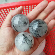 Wholesale Natural Rock Quartz Black Tourmaline Rutilated Quartz Crystal Balls Sphere Healing Crystal Stone Ball For Sale