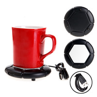 Lowest Pricce Luxury Black USB Portable Powered Cup Mug Coffee Tea Drink Heater Warmer Tray Pad Dish Free Shipping