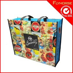 pp woven and non woven opp film three material laminated with zipper shopping bag