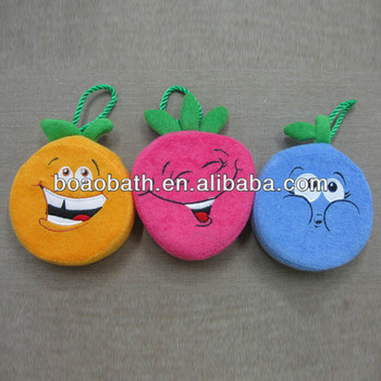 Shower puff bath sponge wholesale terry fruit shape sponge bath