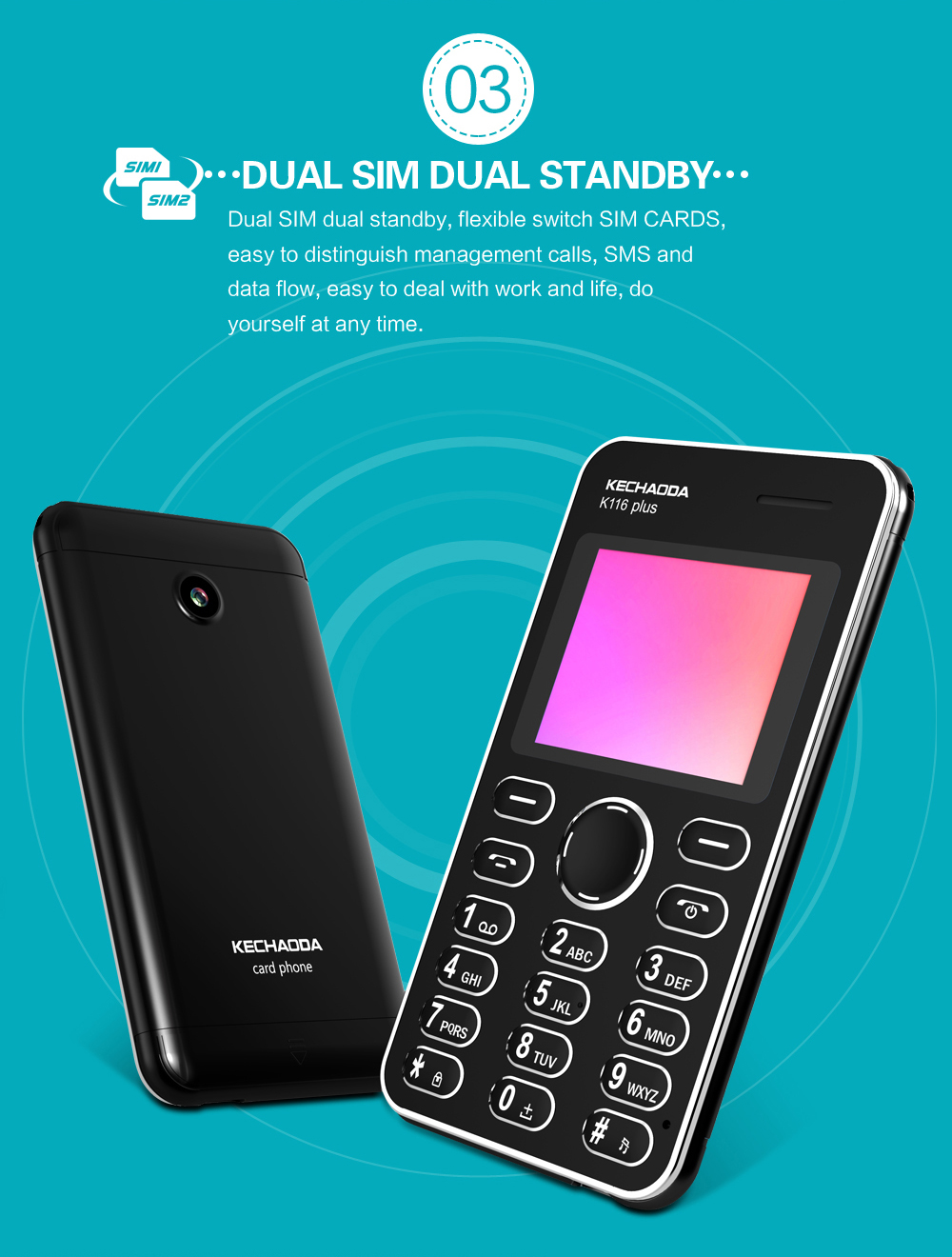 KECHAODA K116 plus Ultra-thin 1.8 inch Dual SIM dual standby Mini Polymer Battery Card Phone Mobile Phone