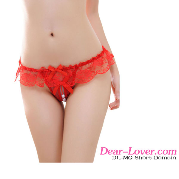 Super Sexy Open Yong Girls Cheap Red Sheer Lace Ruffle Beaded Open Crotch G-string