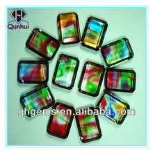 Rectangle shaped colorful glass cubic zirconia