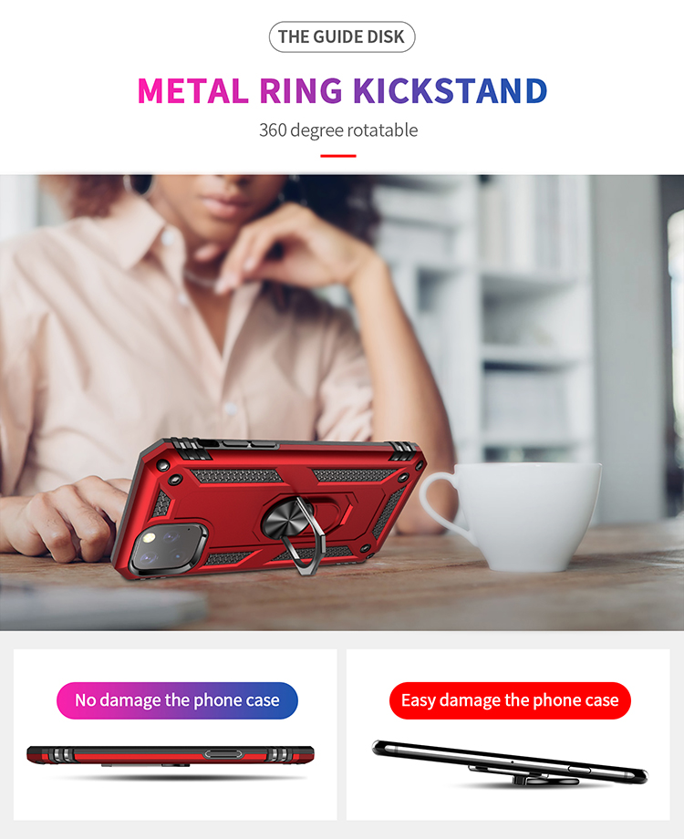 Magnetic Armor Kickstand Finger Ring Holder 360 Degree Rotary Phone Case Cover For New iPhone 5.8 2019