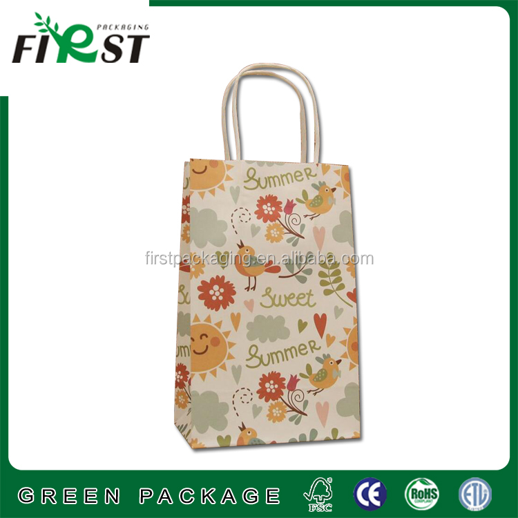 shopping/gift/bakery cheap small flat handle kraft paper bag with logo print/bakery cake bread packaing bags