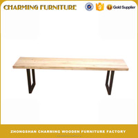 Garden Bench Solid Wood Top, Iron Base Outdoor Furniture #6921