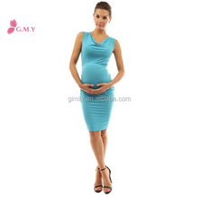 Mama Cowl Neck Sleeveless blue formal dresses for pregnant women
