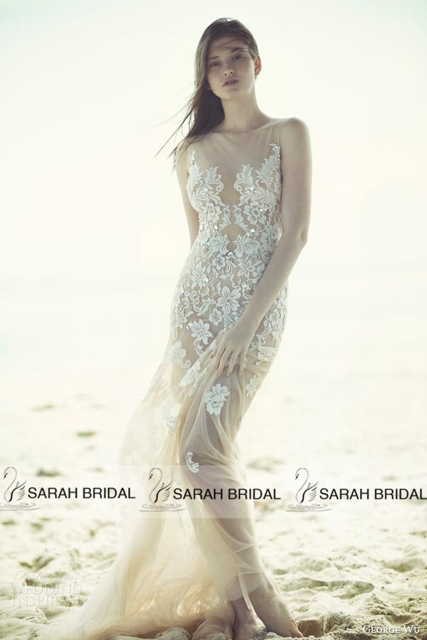 Get Quotations · Custom Made Sexy Sheer Sleeveless Long Women Wedding Dress  2015 vestido de noiva Fashionable Appliques Sweep f8586fd834d6