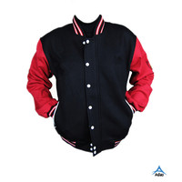 Plain black cotton baseball jacket custom made