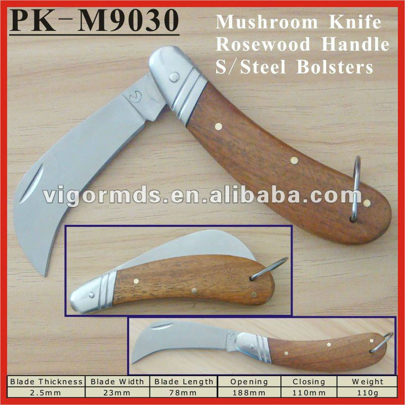 "(PK-M9030) 4"" RoseWood Handle Curved Blade Folding Pocket Mushroom Knives"