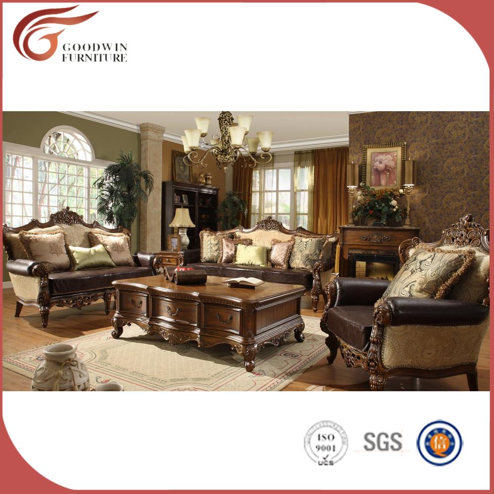 Traditional classic sofa set victorian luxurious handmade curved 3 2 1 living room sofa