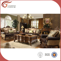 Traditional Classic Sofa Set Victorian Luxurious Handmade Curved 3+2+1 Living Room Sofa Export to Arabic Furniture A28