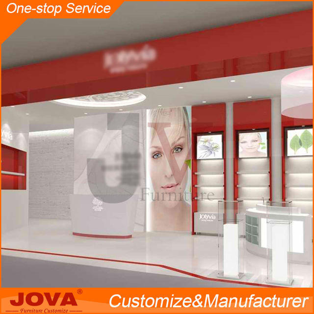 Modern mall eyebrow threading kiosk , retail customized cosmetic store layout design for shopping mall